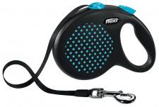 Flexi Design - mėlynai taškuotas automatinis pavadėlis su juostele