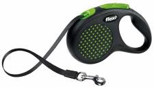 Flexi Design - žaliai taškuotas automatinis pavadėlis su juostele