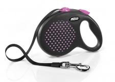 Flexi Design - rožiniai taškuotas automatinis pavadėlis su juostele