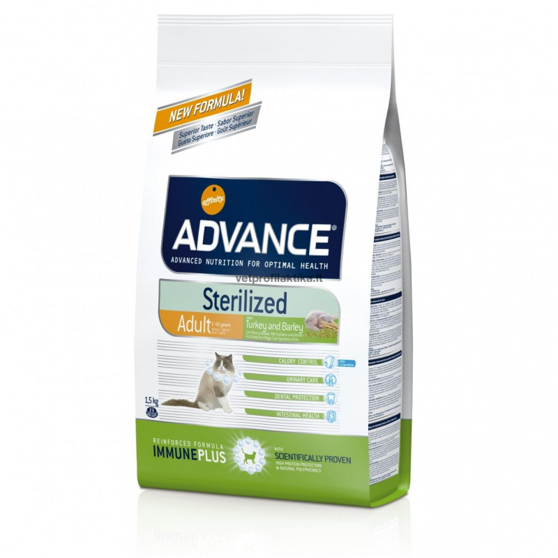 Advance ADULT Sterilized Turkey and Barley - suaugusioms sterilizuotoms katėms