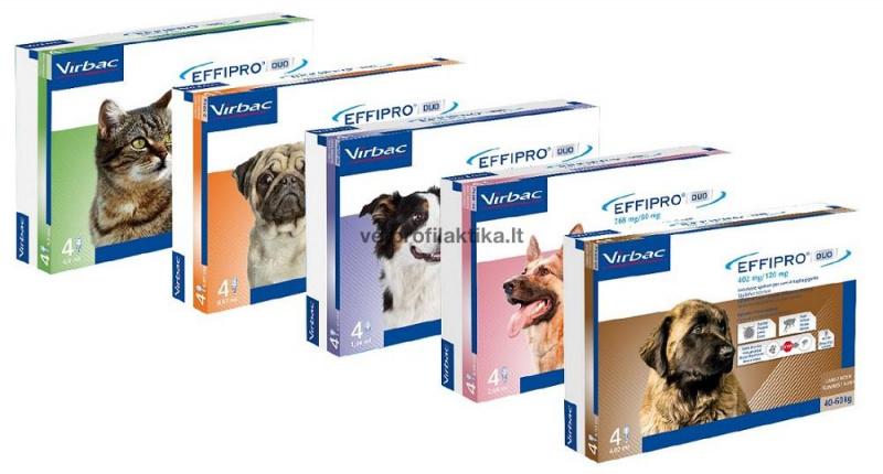 EFFIPRO® DUO (4 pipetės) - užlašinamasis tirpalas šunims nuo erkių ir blusų