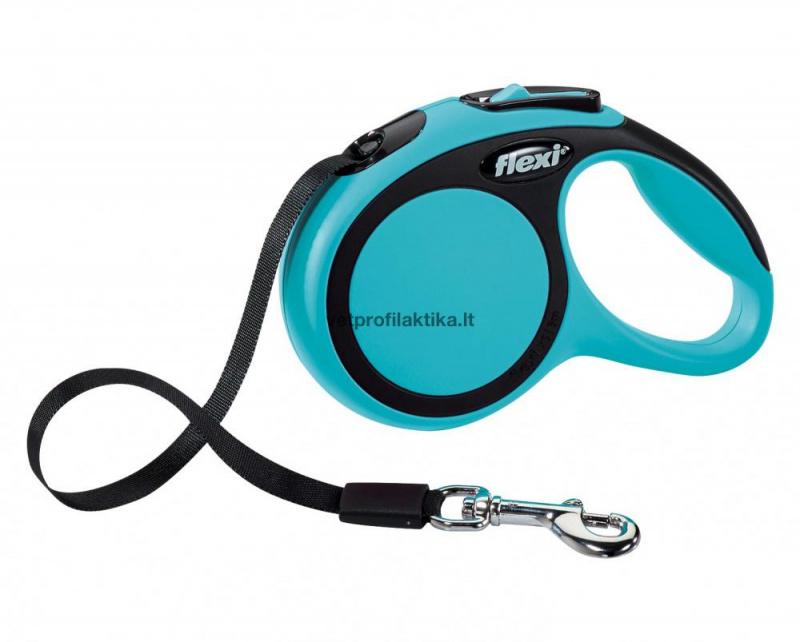 Flexi Comfort - žydras automatinis pavadėlis su juostele