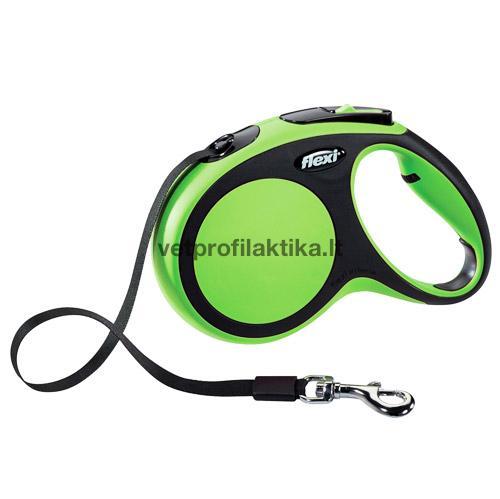 Flexi Comfort - žalias automatinis pavadėlis su juostele
