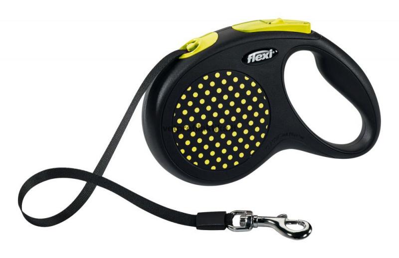 Flexi Design - geltonai taškuotas automatinis pavadėlis su juostele