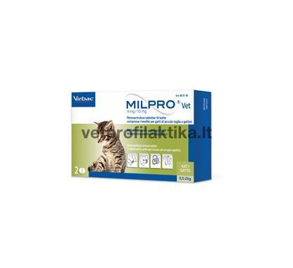 MILPRO® - 4 mg/10 mg, plėvele dengtos tabletės kačiukams ir mažoms katėms N4 (4 tabletės)