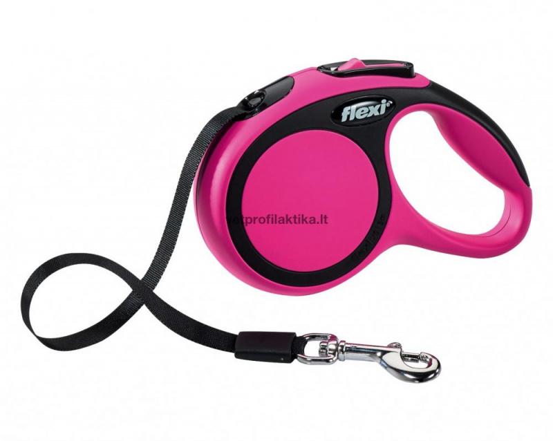 Flexi Comfort - rožinis automatinis pavadėlis su juostele