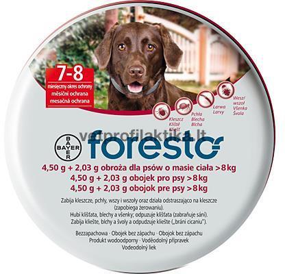 foresto - antkaklis nuo erkių šunims sveriantiems daugiau negu 8kg