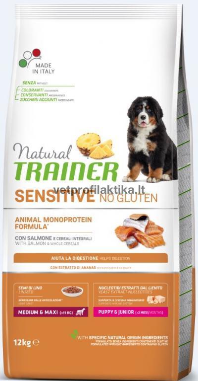 TRAINER Sensitive PUPPY JUNIOR Medium Maxi - ėdalas šuniukams su lašiša