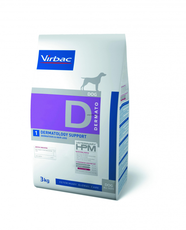 Virbac D1 DERMATOLOGY SUPPORT - ėdalas šunims esant dermatozėms ir kailio slinkimui
